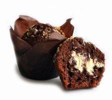 CHOCOLADEMUFFIN GEVULD MET WITTE CHOCOLADE