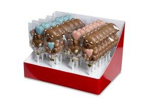 CHOCO LOLLY BEER MET HART MELK ROZE/BLAUW