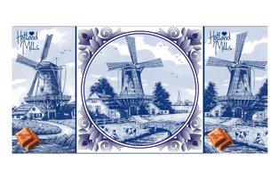 CHOCOLADE TABLET MELK TABLEAU MET ECHTE TEGEL DelftsBleu Mills