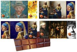 CHOCOLADE TABLET MELK TABLEAU MET ECHTE TEGEL [Hollandse schilders 4 x 6 afeeldingen)