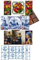 CHOCOLADE TABLET MELK TABLEAU MET ECHTE TEGEL [Oerhollands 4 x 6 afbeeldingen)