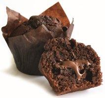 CHOCOLADEMUFFIN GEVULD MET CHOCOLADE-HAZELNOOT