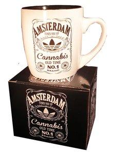 Mok Amsterdam Cannabis wit zwart doos.JPG